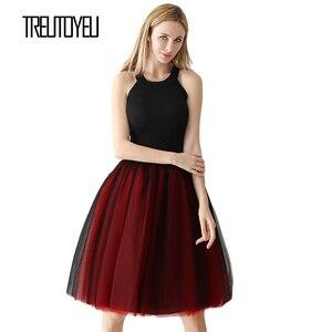 Image 3 - Gothic 6 Layers 65cm Mix Colors Tutu Tulle Skirt Women Streetwear High Waist Pleated Midi Skirts spudniczki jupe rokken faldas