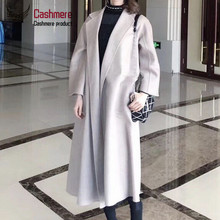 women #8217 s coat High quality water ripple double-faced cashmere coat women #8217 s long windbreaker new wool coat women winter red coat cheap OKOUFEN 9117 Ages 18-35 Years Old Turn-down Collar Belt REGULAR Full Loose Wool Blends Pockets Sashes 100 Office Lady