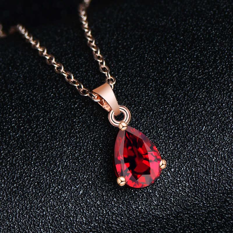 QCOOLJLY CZ Кристалл Ювелирные наборы Красный капли воды ожерелье кулон серьги Набор Свадебные украшения Женская бижутерия в подарок