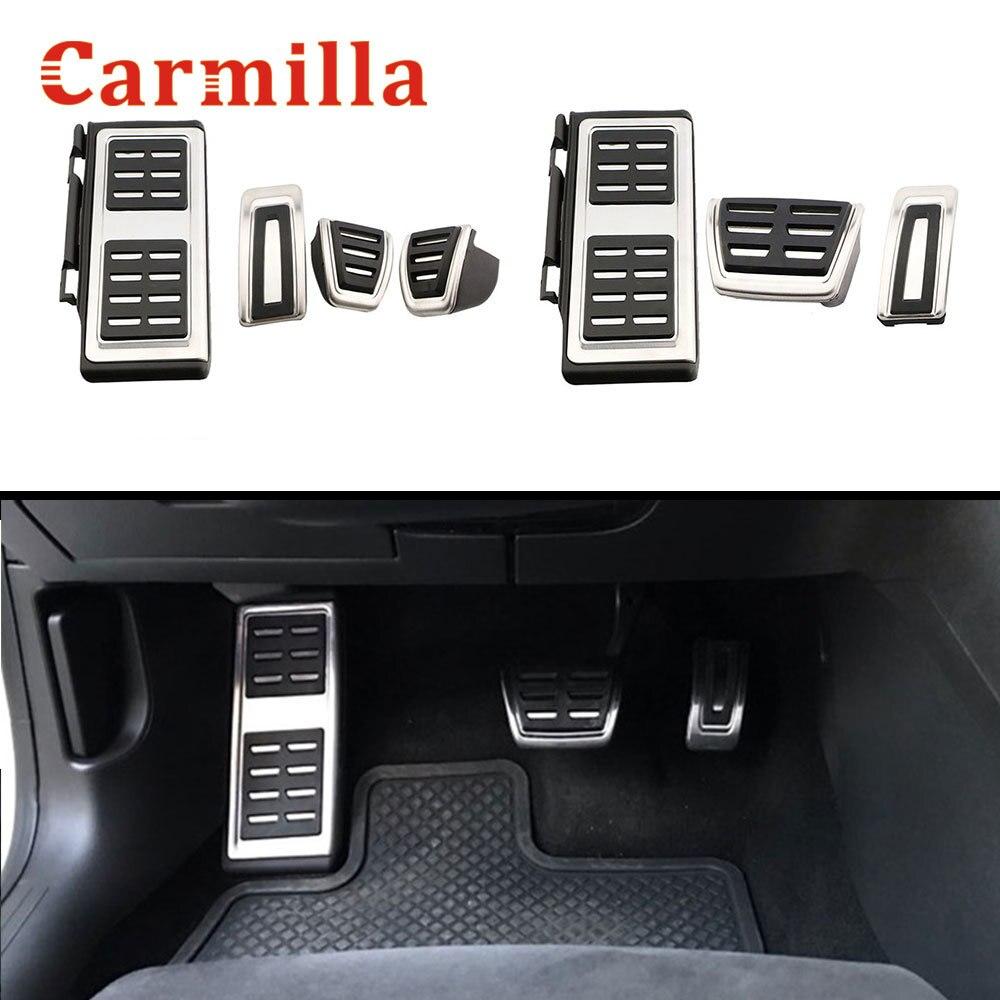 Carmilla, pedales de coche de acero inoxidable para Audi A3 8V S3 RS3 Sportback Cabrio Limousine LHD 2012-2020, cubierta de Pedal de coche