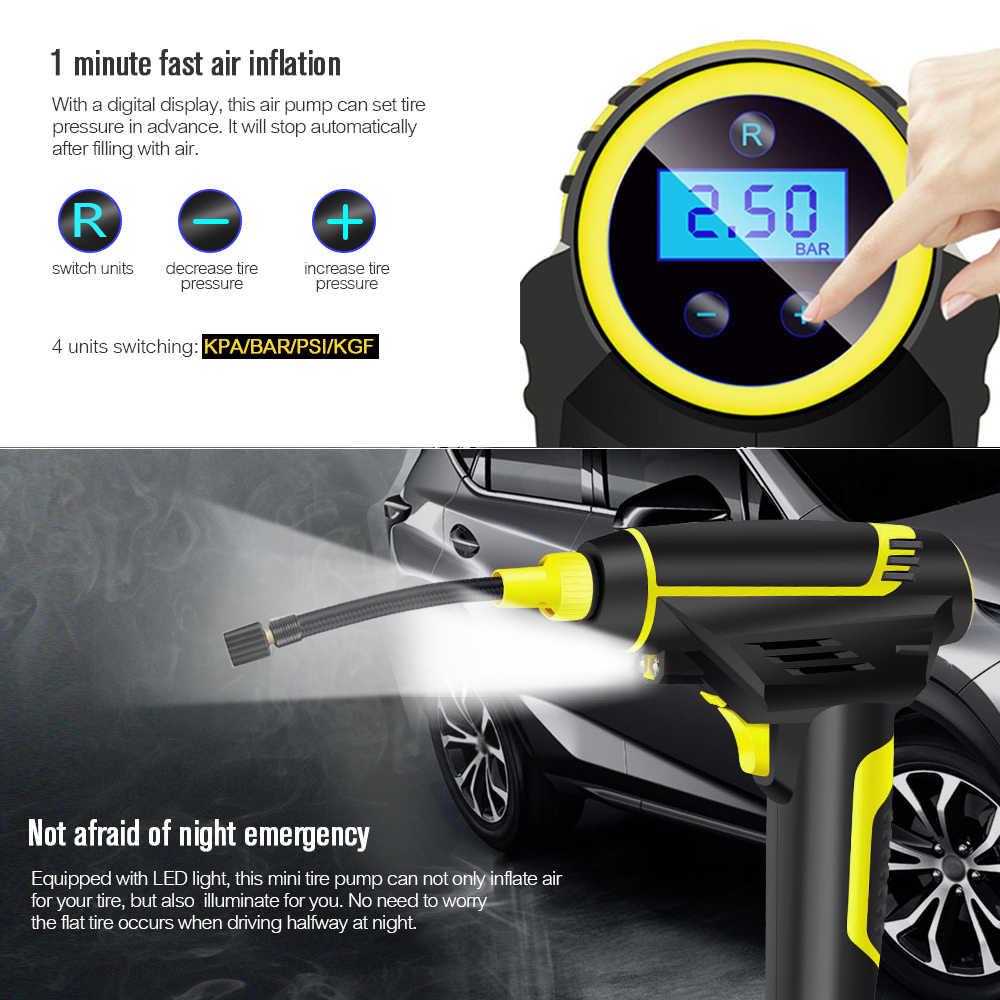 דיגיטלי USB טעינה אלחוטי רכב מתנפח משאבת כף יד מיני חשמלי מדחס אוויר משאבת צמיג Inflator 150psi תיקון כלי