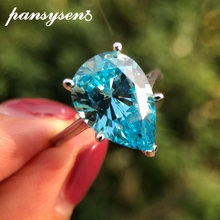 PANSYSEN New Classic 10x14mm Light Blue Natural Aquamarine Rings for Women 100% Real Sterling Silver 925 Jewelry Ring Size 5-12