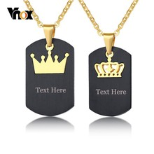 Vnox His Hers Couple Necklaces Black Stainless Steel King Queen Crown Charm Love Pendants Dog Tag Free Engraving Gifts