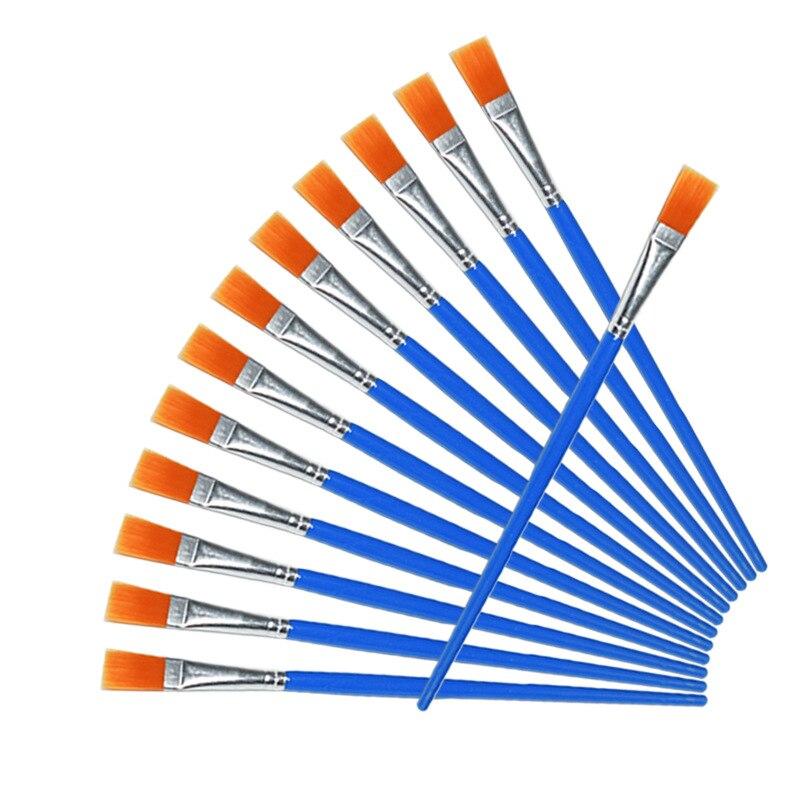 100 pcs set fina linha de gancho plana nailon caneta pintura escova desenho arte aquarela suprimentos