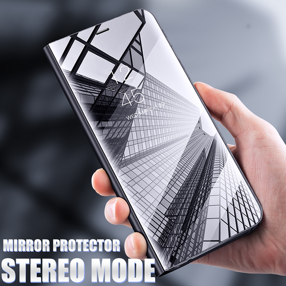 Mirror Smart Case For LG G8 ThinQ Case Clear View PU Leather Shockproof Kickstand Flip Cover For LG Q60 K50 Case