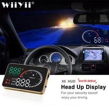 X6 carro obd2 ii hud cabeça up display 3 Polegada excesso de velocidade aviso brisa sistema projetor automático velocímetro eletrônico espelho