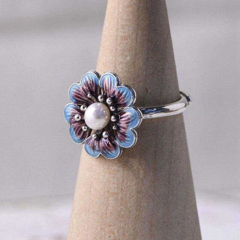 Image 4 - V.YA Lady Pearl Ring Freshwater Natural Pearl Rings 925 sterling silver Enameling Ring Women Wedding Birthday GiftEngagement Rings   -