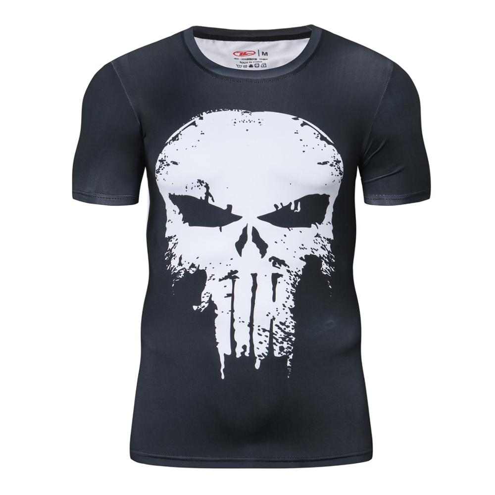 Short Sleeve 3D T Shirt Men T-Shirt Funny Tee Captain America Superman Tshirt Men Fitness Compression Shirt Punisher MMA