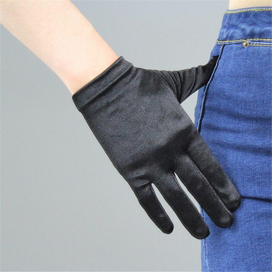 Silk Gloves Female 22cm Dress Short Elastic Silk Satin Black White Short Sunscreen Gloves SCH22