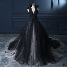 Halter A Line Black Wedding Dress 2019 Gown Count Train Princess Vintage Bridal