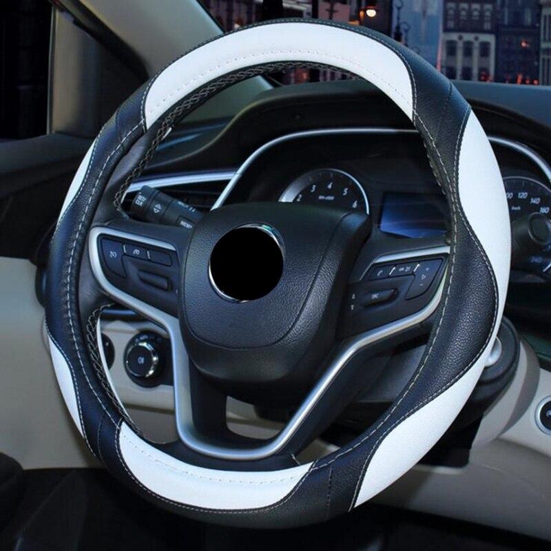 Универсальный чехол на руль 38 см, оплетка из искусственной кожи в спортивном стиле на рулевое колесо, защита салона автомобиля