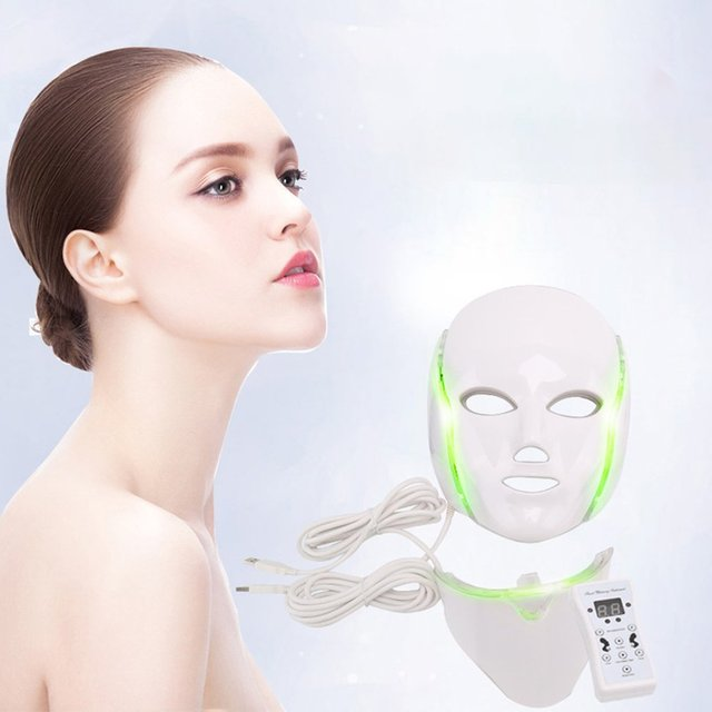 7 Colors LED Facial Mask Spectrometer Led Therapy Mask Light Therapy Acne Neck Face Mask Korean Skin Care OPP Bag Pack 4