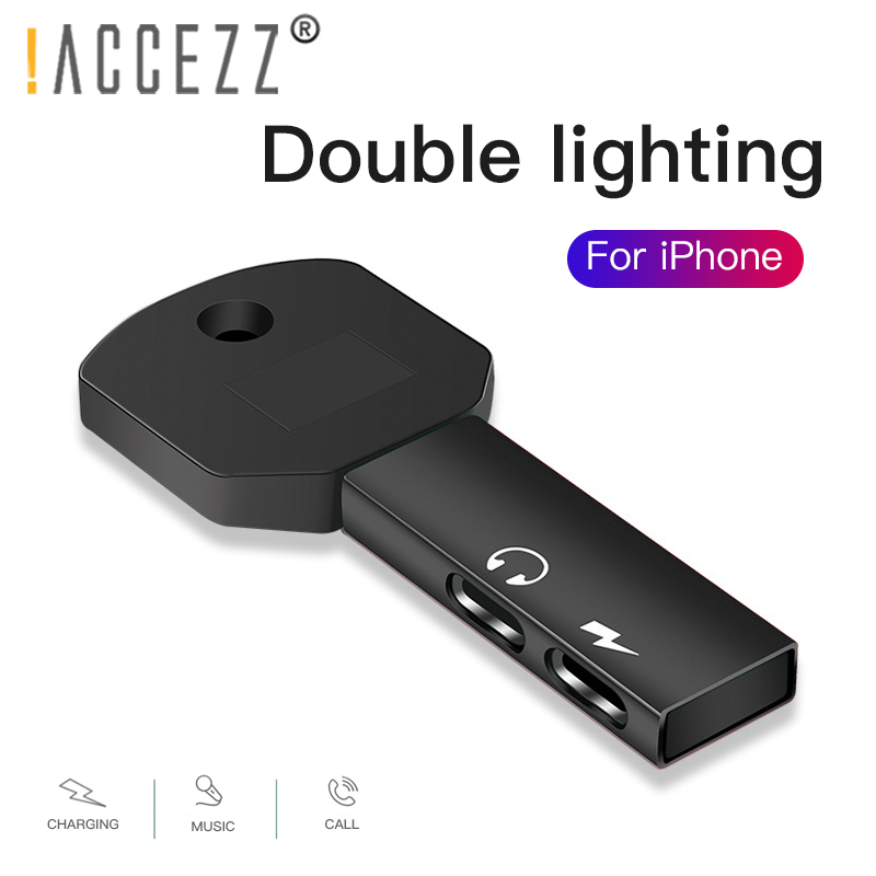 !ACCEZZ Mobile Phone Adapter For IPhone Adapter Dual Lighting Splitter For Apple IPhone 7 8 Plus XR XS MAX Charging Connector