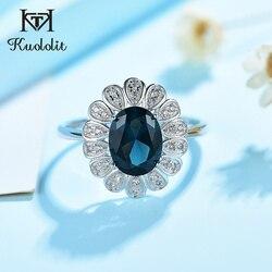 Женское кольцо Kuololit с изумрудом и морганитом, овальное женское кольцо, новинка 20, реальная модель 925