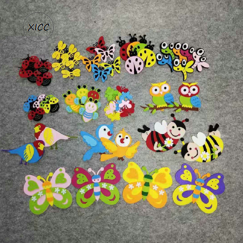 XICC Non-woven Animal Ladybug Bee Sting Butterfly Felt DIY Pack Kindergarten Decoration Primary School Classroom Wall Stickers
