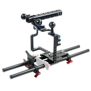 Image 3 - BGNing Aluminium SLR Kamera Käfig für GH4 /GH5 Unterstützung Objektiv Stand Bracket w/ 25cm 40cm Carbon fiber Rod Clamp Railblock Mount Kit