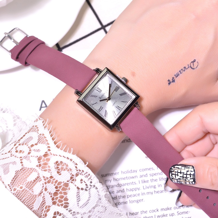 Qualities Square Women Fashion Purple Watches Roma Scale Retro Ladies Wristwatches Casual Simple Female Quartz Leather Watch