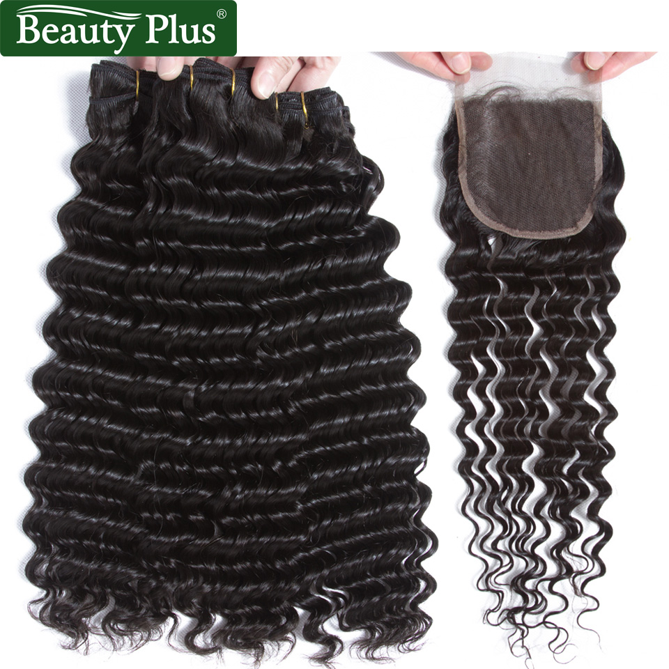 Deep Wave Bundles With Closure 4x4 Inch Brazilian Hair Weaves Remy Human Hair 3 Bundles With Closure With Baby Hair Beauty Plus