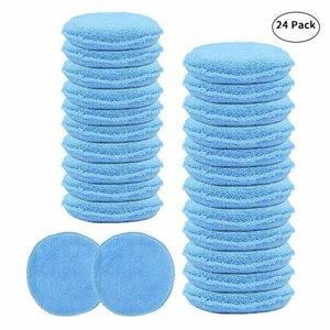 Image 1 - 24 pçs 5 polegada esponja de enceramento do carro azul aplicador redondo fácil limpeza couro polonês almofada espuma microfibra lavável universal reutilizável