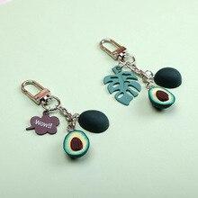 2019 New Simulation Heart-shaped Avocado Key chain Fashion Fruit Keychains Jewelry For Women Gifts Cute Cartoon Popular Keyring