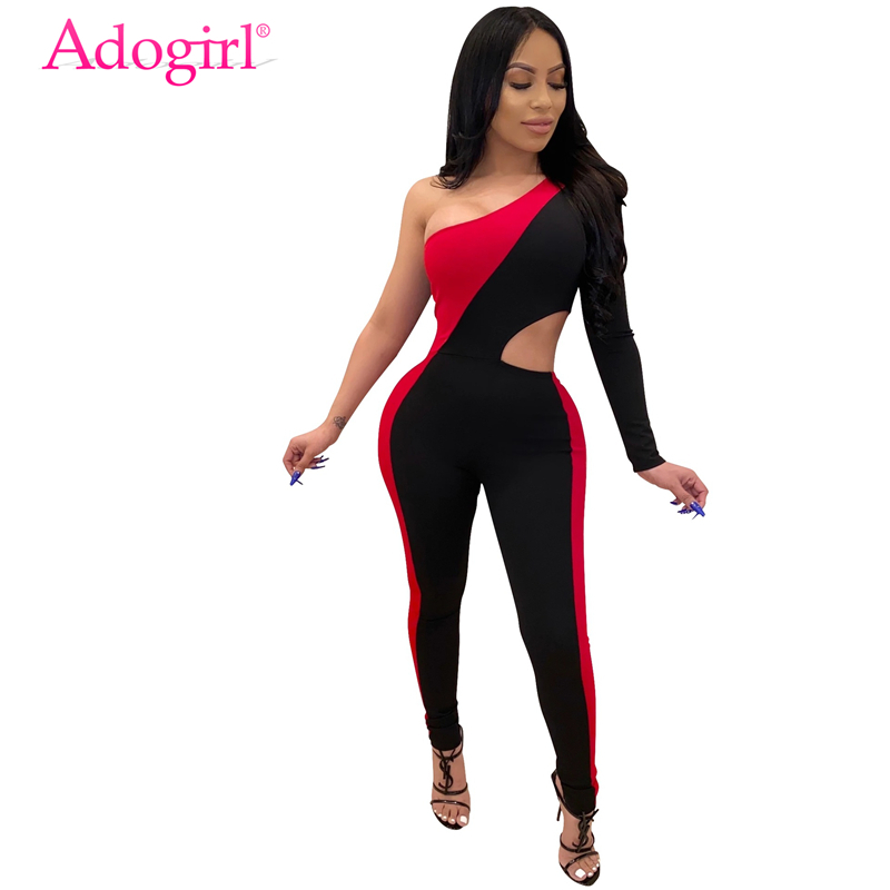 Adogirl Color Patchwork One Shoulder Skinny Jumpsuit Hollow Out Sexy Long Sleeve Casual Romper Women Fitness Tracksuit Overalls