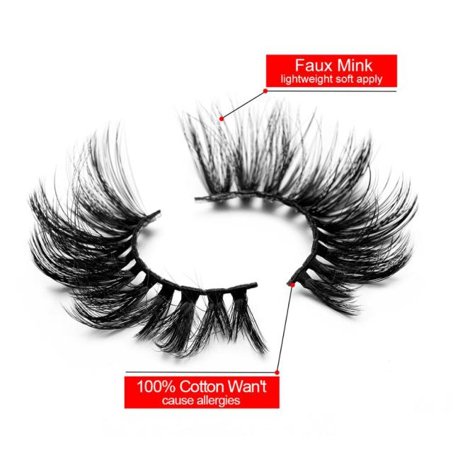 SEXYSHEEP 5Pairs 20-25mm 3D Faux Mink Hair False Eyelashes Natural/Thick Long Eye Lashes Wispy Makeup Beauty Extension Tools 3