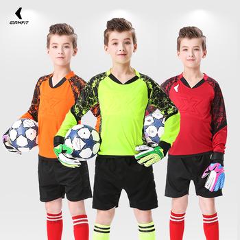Dzieci dorosłych bramkarz mundury koszulki piłkarskie niestandardowe piłka nożna mundur szkoleniowy bezpieczeństwo odzież ochronna drukowanie nazwa numer tanie i dobre opinie jianfei Chłopcy Poliester Elastan Pasuje prawda na wymiar weź swój normalny rozmiar ETMJ801 Multi color boy girl environmental friendly