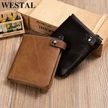 Men Wallets WESTAL RFID Custom Real-Leather Personalized Vintage for Skin Man's Card