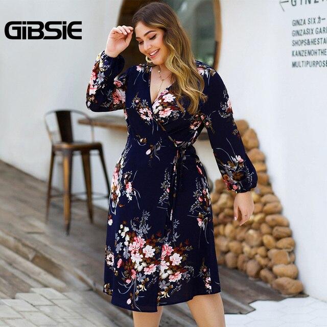 GIBSIE Plus Size Floral Print High Waist Dresses Women V-neck Long Sleeve Wrap Dress Autumn Casual A-Line Knee Length Dress 4