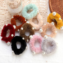 1PC Pearl Faux Rabbit Fur Scrunchies Soft Candy Color Hair band Hair Rope Plush Ring Hair accessories Women Girls Rubber Band(China)