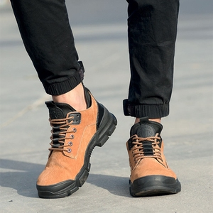 Image 2 - 36~48 Work Shoes Genuine leather Steel toe Wilderness Survival Anti smashing Men Work Boots #YD806