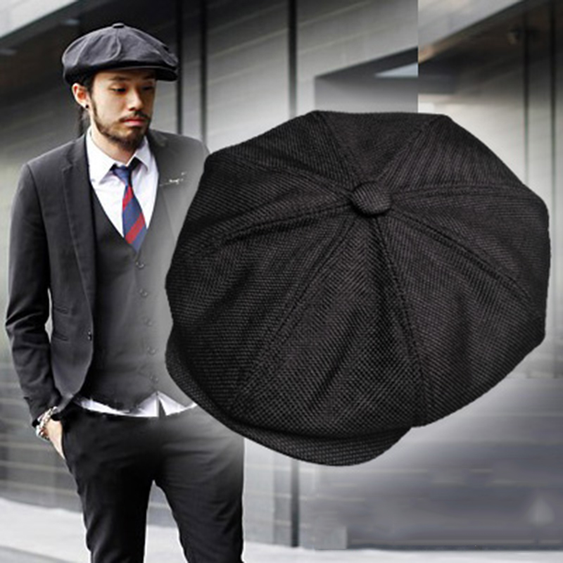 Casquette Four Seasons Cotton And Linen Black Men's Newsboy Hat Male Beret Men And Women Retro England Visor Big Head Cap BLM20
