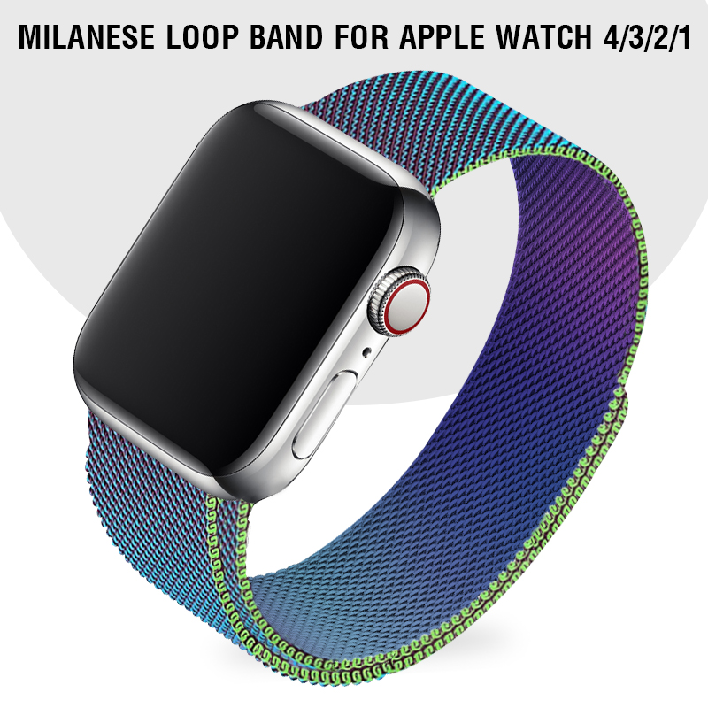 Rainbow Milanese Loop Band 40mm 44mm For Iwatch Series 4 Women  Bracelet Men Wrist Band 38 Mm 42mm For Apple Watch 3 2