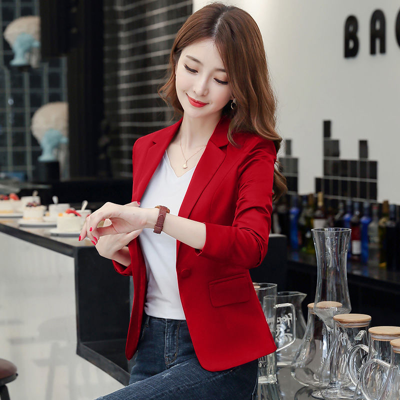 PEONFLY 2020 Blazer Femme Jackets Women Blazer Long Sleeve Blazers Solid Single Button Coat Slim Office Lady Jacket Female Tops