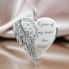 Gold Silver Heart Charm Chain Necklace Custom Jewelry A Piece of My Heart Has Wings Letter Heart Pendant Necklaces for Women a suit of stylish solid color heart shape letter carving pendant necklace for women