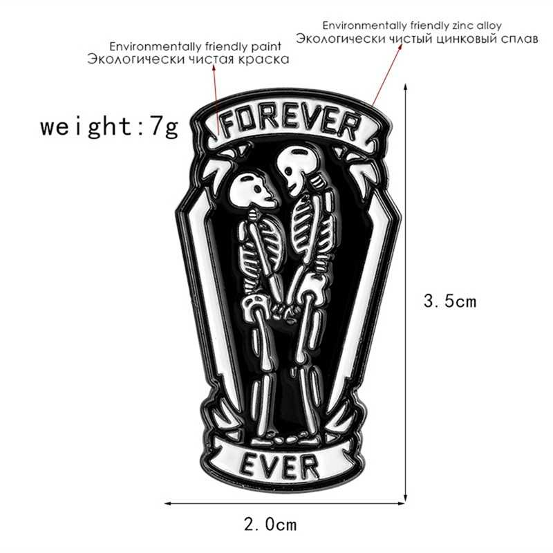 Punk Pins en broches Coffin Schedel Paar Skelet Forever And Ever Zwart Pins Badges Broche Geschenken voor vriendin vriendje