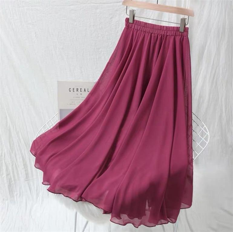 5XL 6XL 7XL Spring Autumn Fashion Women High Waist Pleated Chiffon Skirt Plus Size Lady Black Pink Blue Yellow Long Maxi Skirt