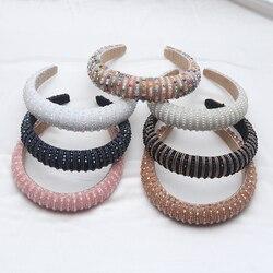 Trendy Women Crystal Hairbands Elegant Headbands Sponge Imitation Pearl Hair Hoop Fashion Head Hoop Hair Accessories