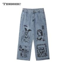Printed Jeans Wide-Leg Harajuku Anime Loose Men's Fashion Street Casual Cartoon Blue