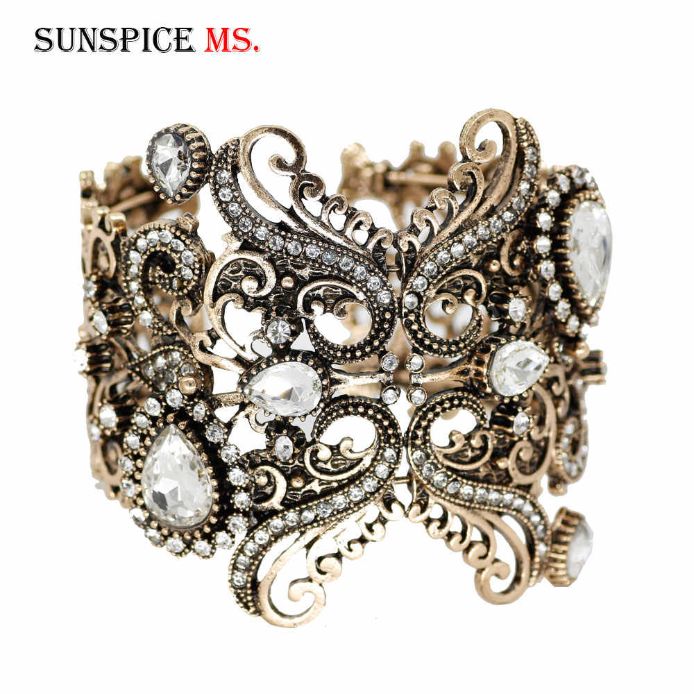 SUNSPICE-MS Turkish Vintage Bangle Women Crystal Flower Cuff Bracelet White Gray Stone Antique Gold Color Retor Wedding Jewelry