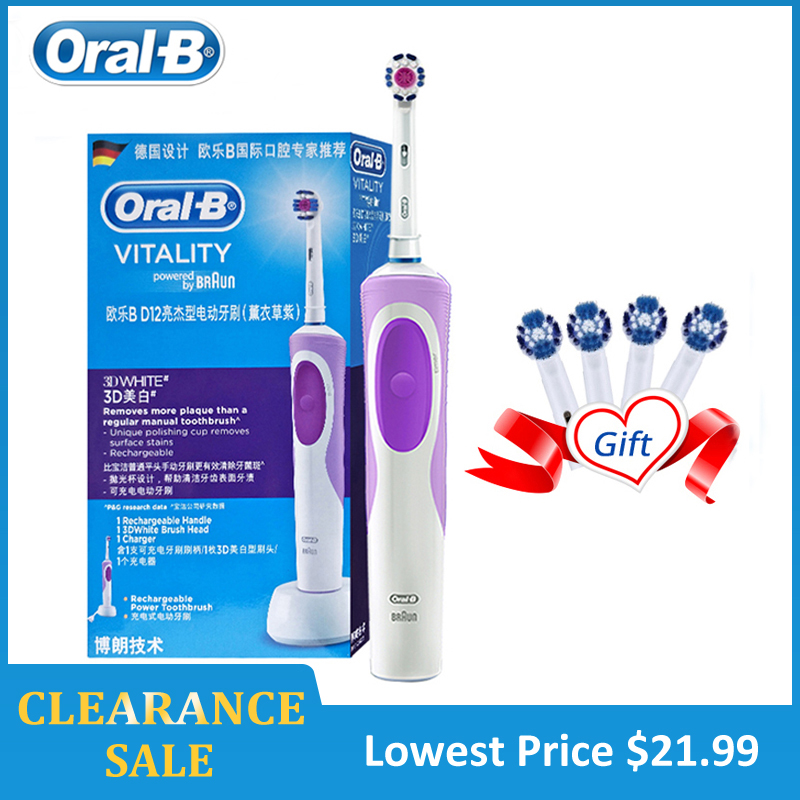 Oral B Electric Toothbrush 2D Precision Cleaning Whiten Teeth Inductive Charging Full Body Waterproof Teeth Brush Clearance Sale image