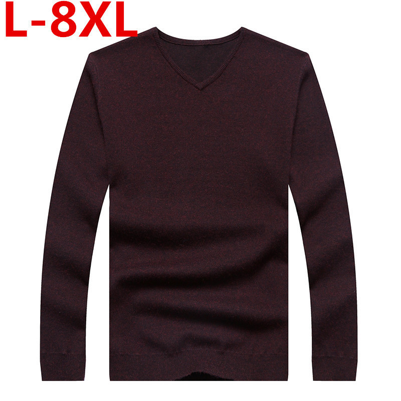 Bigsize 8XL 7XL 6XL 5XL Winter Men Jumper 100% Pure Cashmere Knitted Sweater V-neck Long Sleeve Warm Pullovers Male New Sweaters