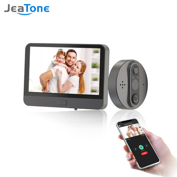 Jeatone Wifi Peephole Video Intercom 4.3 Inch Screen With Electronic Doorbell Night Vision Wireless Intercom for Home Security m3 wireless video doorbell wifi remote intercom detection electronic home security hd visible monitor night vision doorphone