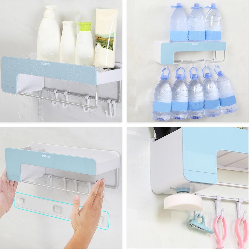 Wall-Mounted Shampoo Holder With Hook Towel Hanger Holder Bathroom Storage Rack Kitchen Storage Shelf Make Up Organizer Bathroom