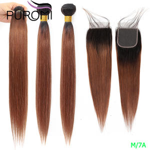 Hair-Weave-Bundles Closure Puromi Straight Ombre Brazilian with Honey 1b/27-99j-30/Ombre