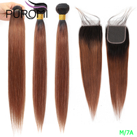 Puromi Brazilian Straight Hair Weave Bundles Honey Blonde Bundles With Closure 1b/27 99j 30 Ombre Bundles With Closure Non Remy