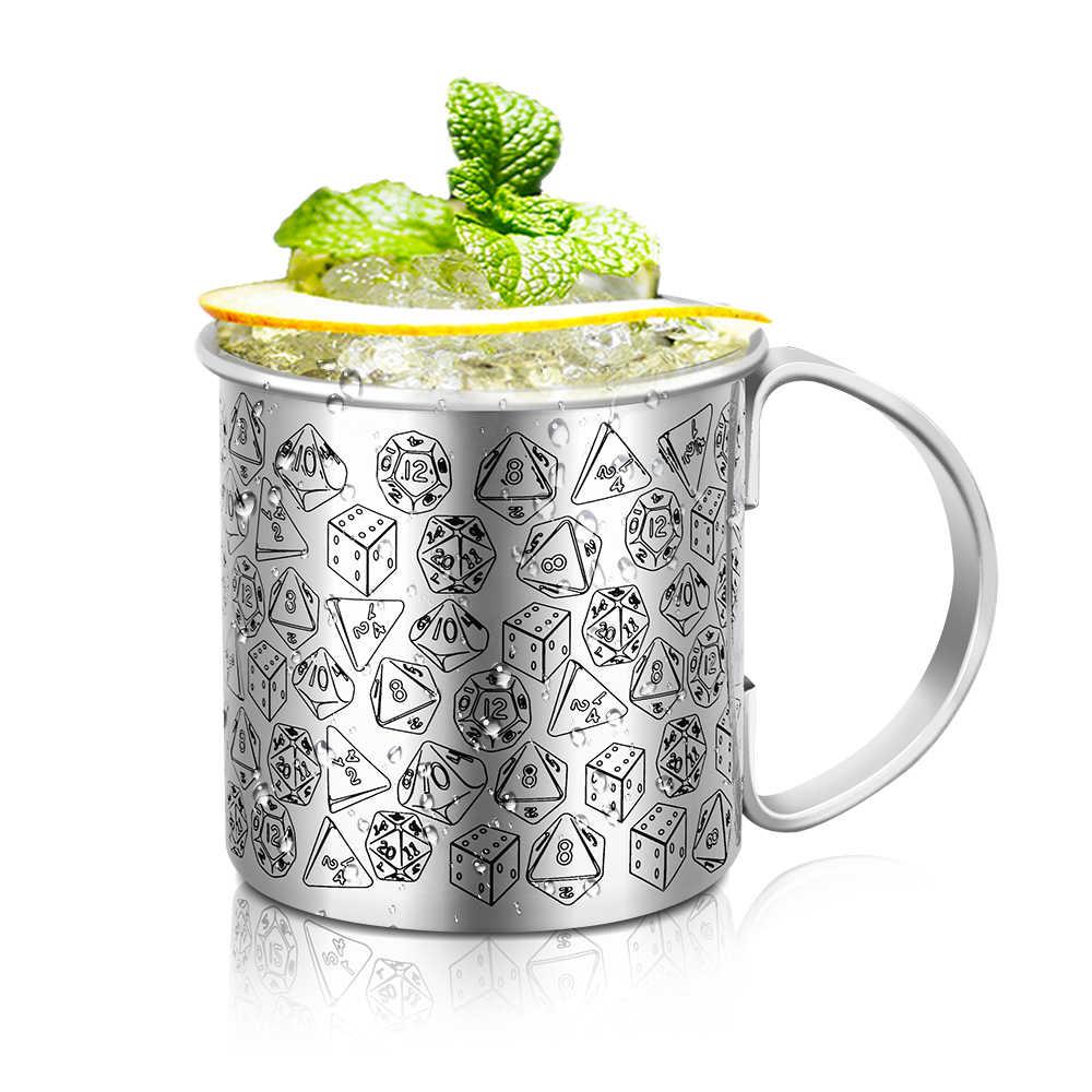 Классическая Толстая Нержавеющая сталь Печать коктейль мул чашка творческая