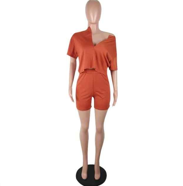 Reine Farbe Zwei Stück Set Frauen Trainingsanzug Sommer Kleidung Kurzarm Crop Top Biker Shorts Lounge-Set Dresy Damskie 2020