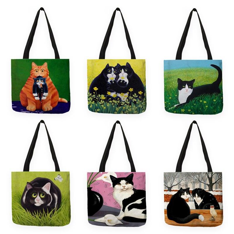 B13036 Eco Reusable Shopping Bag Creative Cat In Grass Printed Women Handbag Shoulder Bags