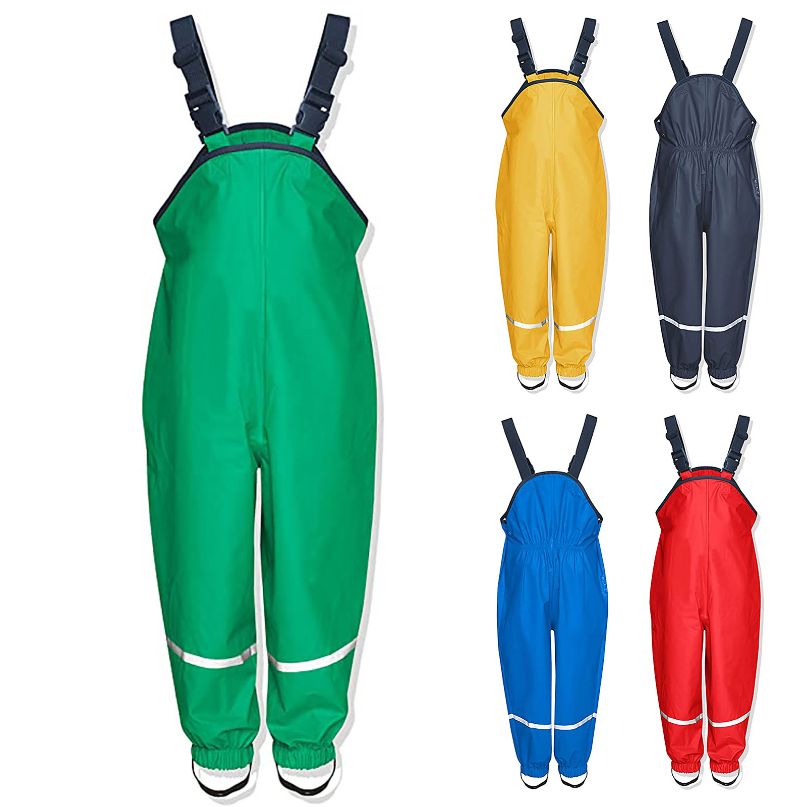 Unisex Children's Rain Dungarees Windproof And Waterproof Mud Trousers Mud Jumpsuit Clothes Thicken Warm Trouser Pants 2021